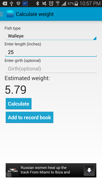 Saltwater fish calculator android fish weight calculator for Fish weight calculator